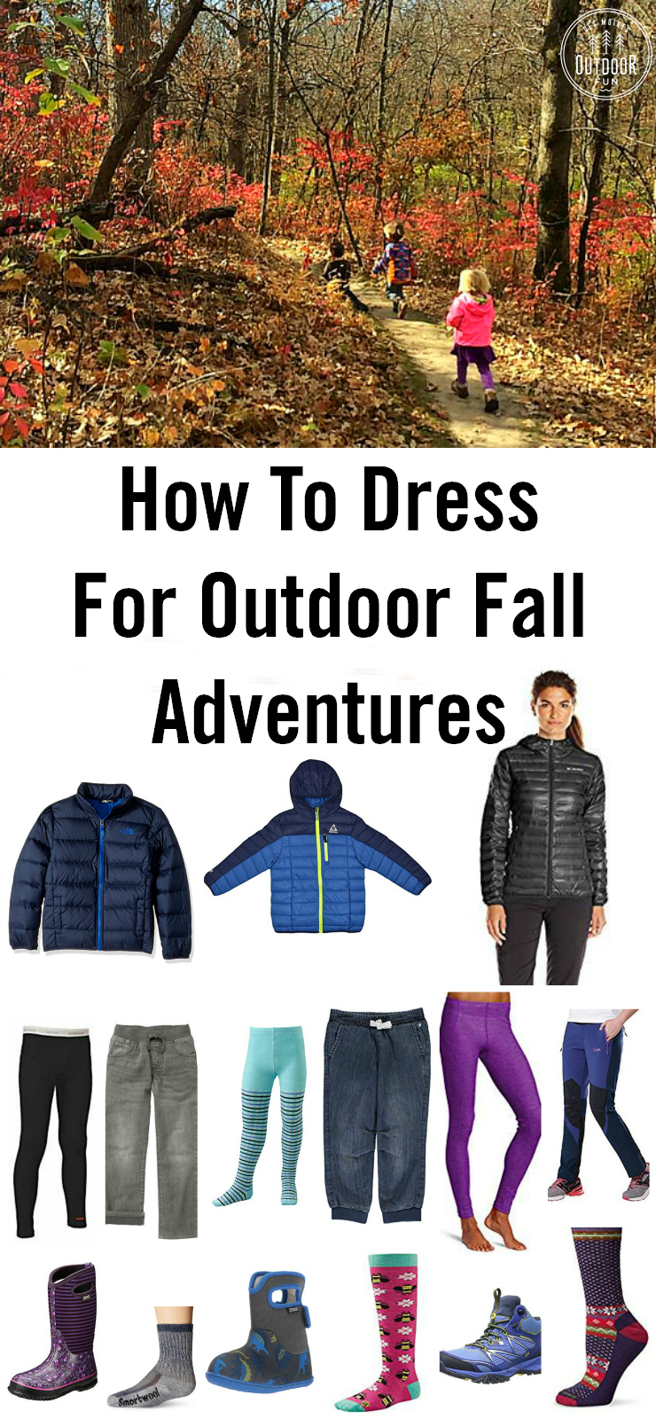 Check out these tips and product links for how to dress kids and adults to stay warm (but not too warm!) in fall weather. Fall hiking with kids can be fun if everyone is dressed right! #hikingwithkids #hiking #hikingtips #hikinggear