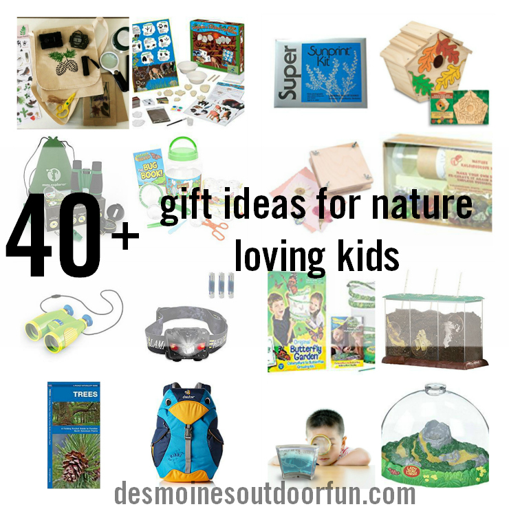 Check out this huge list of gift ideas for nature loving kids! Games, experiences, gear, crafts - something for every outdoorsy kid. #parenting #giftguide