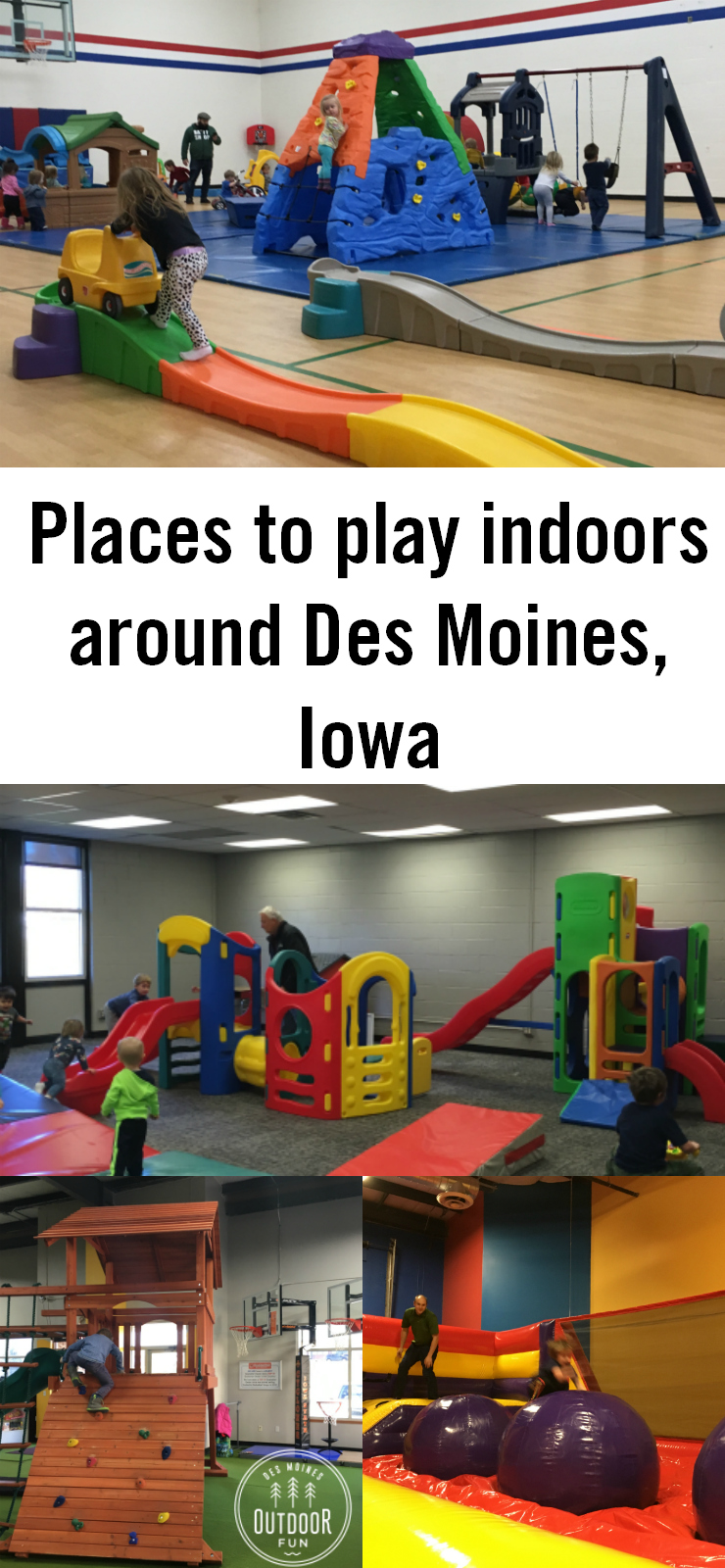 If it's so cold you can't get all your kids' energy out at the playground, check out all these ideas for burning off steam. This is a huge list and map of all the indoor play gyms, indoor playgrounds, trampoline parks, bounce houses, gymnastics open gyms, mall play gyms, bowling lanes, indoor ice skating, roller skating rinks, laser tag, indoor golf, and rock climbing in Des Moines, Iowa and around central Iowa.